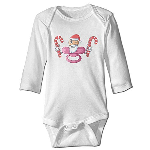 Monicago Neugeborenes Baby Jungen Mädchen Babybody Langarm, Baby Boys Girls Bodysuit Santa with Candy Baby Silicone Pacifier Jumpsuit Onesies Long Sleeve Unisex
