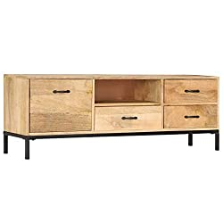 Festnight- TV-Schrank | Massivholz Fernsehschrank mit 3 Schubladen, 1 Fach und 1 Tür | Vintage TV Lowboard M?Bel 130 x 30 x 45 cm Mango-Holz