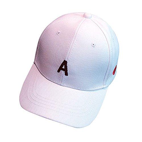 Männer Cap Mode Hüte Baseballmütze Jungen Mädchen Snapback Hip Hop Flachhut Stickerei Brief Gedruckt Solid Color Cap Durch Lonshell (Weiß) (Mode Snapback Für Herren)
