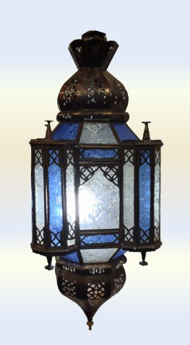 Moroccan Antique Brass Ceiling Lantern 4 Children 2 - Hand pierced tin & Blue & Clear Glass - 60Cm - JANUARY OFFER -