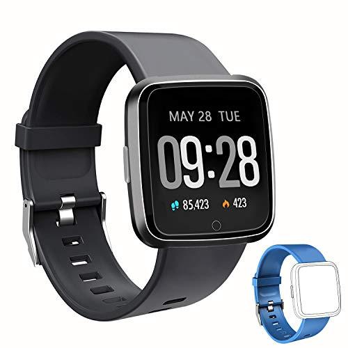 Smartwatch Fitness Tracker Wasserdicht IP67 Fitness Armbanduhr mit Pulsuhren Sportuhr Aktivitätstracker Schrittzähler für Damen Herren Anruf Kompatibel mit IOS und Android Schwarz