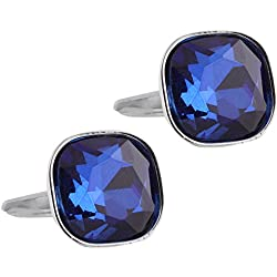 Tripin blue stone square silver cufflink for men with a diamond cut imported stoneâ in a gift box