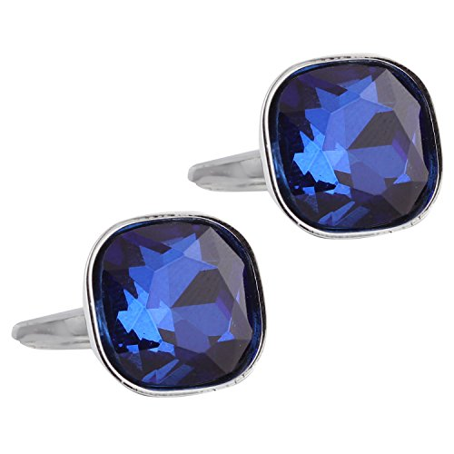 Tripin blue stone square silver cufflink for men with a diamond cut...