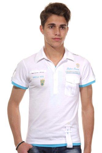 R-NEAL Poloshirt slim fit weiss/türkis