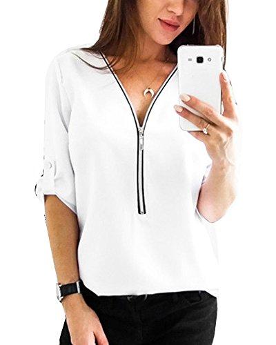 Donna camicia blusa chiffon manica lunga casual elegante v-collo con cerniera t-shirt bianco s