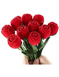 Caja de almacenamiento con forma de rosa roja joyliveCY para anillo de compromiso, pendientes, colgantes o recuerdos