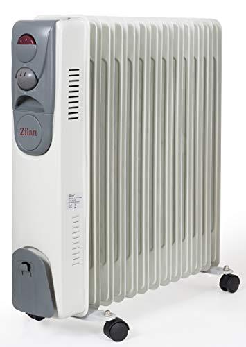 13 Rippen Öl Radiator 2.500 Watt | Elektroheizung | Heizstrahler | Mini Heizung | 3 Heizstufen | 5 Ölleitungen | Thermostat | Schnelles Aufheizen | Überhitzungsschutz |
