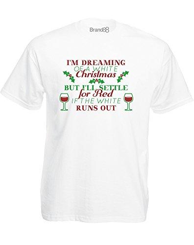 Brand88 - A White Wine Christmas, Mann Gedruckt T-Shirt Weiß/Transfer