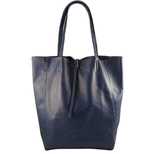 Damen Echtleder Shopper mit Innentasche in vielen Farben Schultertasche Henkeltasche Metallic look Dunkelblau