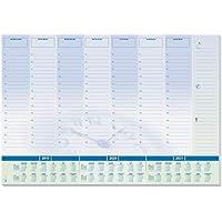 Sigel HO350 Vade, bloc de notas, diseño planning semanal con horarios y calendario trianual, 59,5 x 41 cm, azul y blanco, 30 hojas