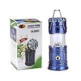 PerGrate Multifunktions-Taschenlampe, solarbetrieben, wiederaufladbar, mit Mini-Ventilator, Tischleuchte