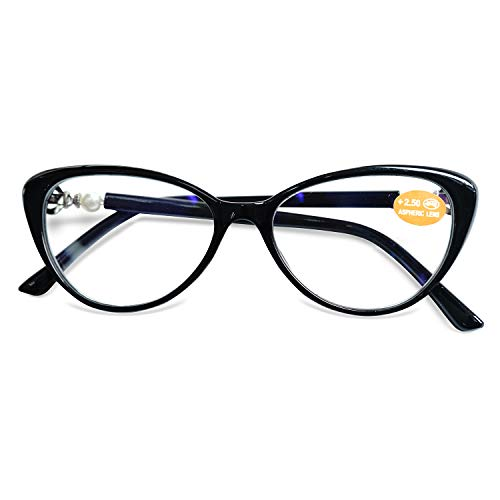 KOOSUFA Lesebrille Katzenaugen Damen Vintage Mode Cateye Hornbrille Lesehilfen Sehhilfe Retro Designer Vollrandbrille mit Stärke 1.0 1.5 2.0 2.5 3.0 3.5 (Schwarz, 2.5)