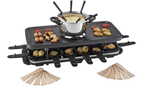Cooks Professional Juego Tradicional de Fondue de Parrilla Raclette, Parte Superior Antiadherente para una Cocina más Saludable con 12 espátulas de raclette 1600W