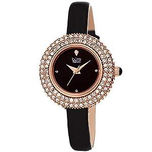 Burgi BUR195 Damen-Armbanduhr, mit Swarovski-Kristallen und Diamanten, komfortables Lederband, in Geschenkbox