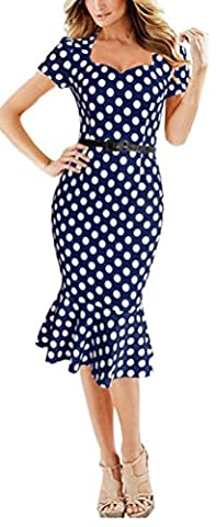 SunIfSnow Women Fashion Vintage Polka Dot Houndstooth Slim Business Sheath