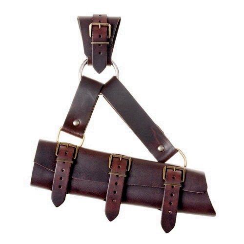 LARP-Schwertgehänge mit Ring im Stil des Mittelalters aus Leder Farbe braun