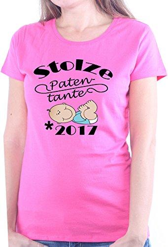 Mister Merchandise Ladies Damen Frauen T-Shirt Patentante - 2017 Tee Mädchen Bedruckt Pink