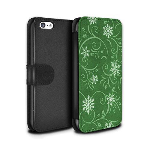 Stuff4 Coque/Etui/Housse Cuir PU Case/Cover pour Apple iPhone 5C / Pack (7 pcs) Design / Motif flocon de neige Collection Vert