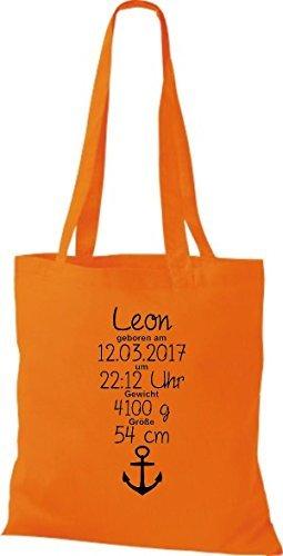 shirtstown Borsa di stoffa UNO MERAVIGLIOSO REGALO ALLA NASCITA CON TUO PERSONALI initilien ANCORA Arancione