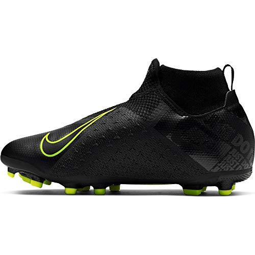 Nike Jr. Phantom Vision Academy Dynamic Fit MG, Botas de fútbol Unisex niño, Black/Volt 7, 38.5 EU