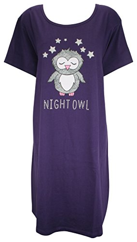 e6f31d8a16 Forever Dreaming Ladies Cotton Jersey Nightshirt with Motif Purple Owl 8 10