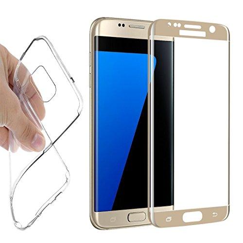 Samsung Galaxy S6 Edge Panzerglas, Samsung Galaxy S6 Edge Schutzfolie, 9H Displayschutzglas Full Screen (Gold) Touch Echtglas + Hülle transparent für Samsung Galaxy S6 Edge …