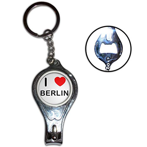 BadgeBeast.co.uk I Love Berlin - Nagelknipser Flaschenöffner Metall Schlüsselanhänger