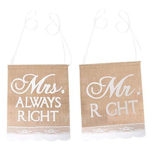 Mr & Mrs Always Right Sackleinen Spitze Schleifen Rustikale Sessel Banner Gummiband Set Stuhl Schild Girlande Shabby Chic Vintage Hochzeitsparty Sessel Dekoration ()