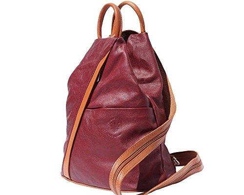Florence Leather 207, Borsa a zainetto donna Black, Bordeaux & Tan (multicolore) - 207 Bordeaux & Tan