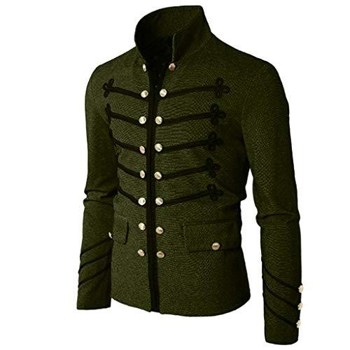 Chaqueta gótica Escudo Hombres botón Bordado Abrigo