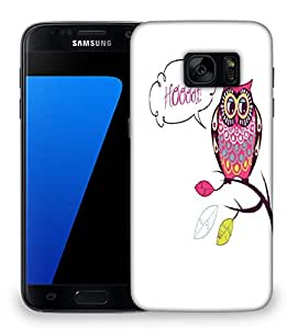 Snoogg cute vector owl hoooot card Designer Protective Back Case Cover For Samsung Galaxy S7