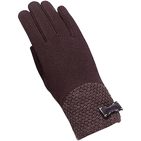 Koly Pantalla táctil de la manera deporte al aire libre guantes calientes del invierno de las mujeres (Negro) (Café)