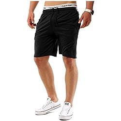 Shorts Hombre Pantalón Corto de Baloncesto Deportivos Negro M