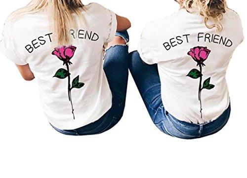Lueyifs Best Friends Damen Rose T-Shirts Oberteil Mädchen Sommer Freund Shirt Kurzarm Tops (Mädchen Damen T-shirt)