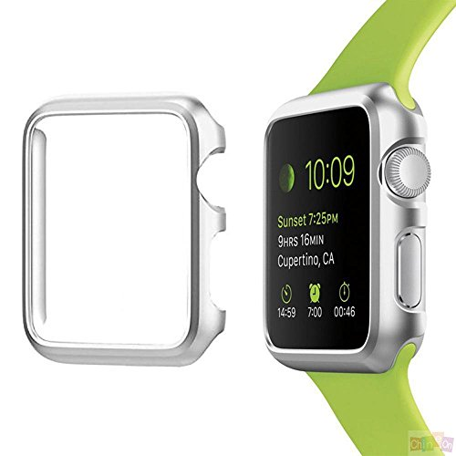ikazen Apple Watch Case 38mm Series 3/2/1, Bumper for Apple Watch 38 mm Snap on Face Cover Full Coverage Screen Protector of Thin Plated Case PC for iWatch 1/2/3 (Silver)