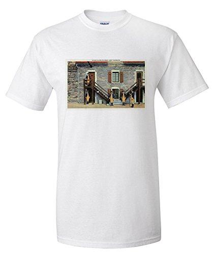 fort-ticonderoga-new-york-west-barracks-ethan-allen-stairway-scene-premium-t-shirt