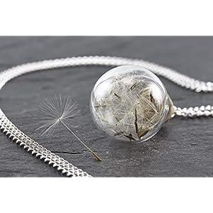 Kette silber echte Pusteblume Löwenzahn Kork lange Halskette...