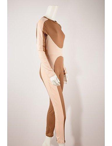 GSP-Combinaisons Aux femmes Manches Longues Vintage / Sexy Spandex / Polyester Fin Micro-élastique khaki-m
