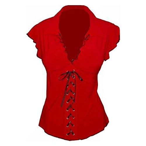 Hibote Damen Tunika Große Größen Bluse Elegant Ärmellos Shirts Schnüren Empire Taille Tops Pullover Mode T-Shirt Sommer Oberteile Rot S