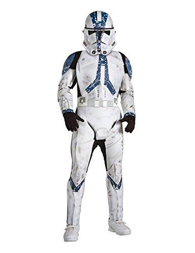 Star Kind Wars Deluxe Trooper Kostüm Clone - Star Wars Clonetrooper Deluxe Kinder Kostüm Lizenzware weiss blau schwarz L