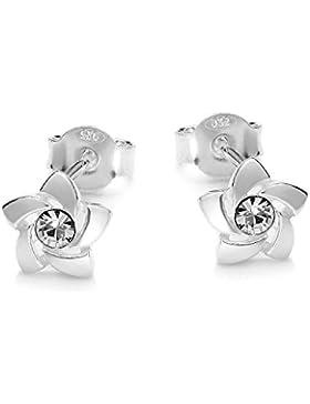 butterfly Mädchen Ohrstecker Silber klar Swarovski Elements original Blume Geschenkverpackung, Geschenkartikel...