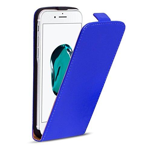 iPhone 7 PU Leder Hülle, Conie Mobile FlipCase, Klapptasche Handytasche Schutzülle Premium Fliptasche in Schwarz Blau