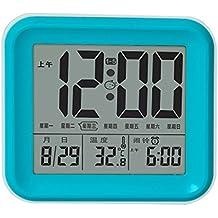 Lilamins Despertador Digital con Alarma Smart no silenciosa tictac cuarzo digital electrónica estudiantes cabecera Despertador luminoso creativo,azul