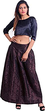 Feathers Closet Women's Satin Top and Skirt Set (FC.IW001, Brown, Small)