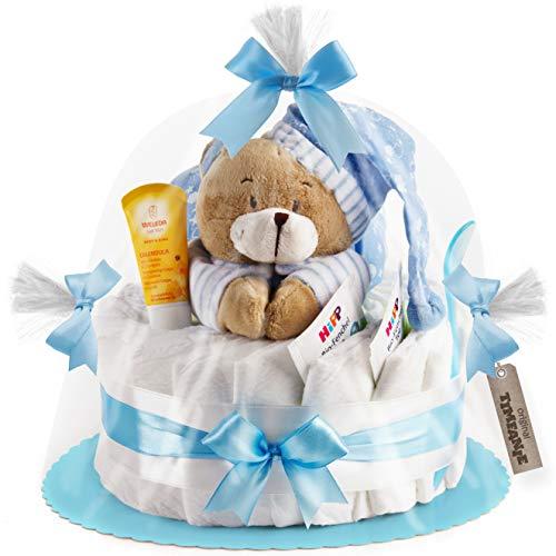 Timfanie® Windeltorte | Spieluhr (1-stöckig/baby-blau) | Windeln Gr. 2 (Baby 4-8 Kg)