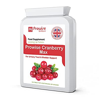 Prowise Cranberry 5000mg 90 Tablets - High Strength Daily Supplement – UK manufactured to GMP Guaranteed Quality – Suitable for vegetarians & vegans