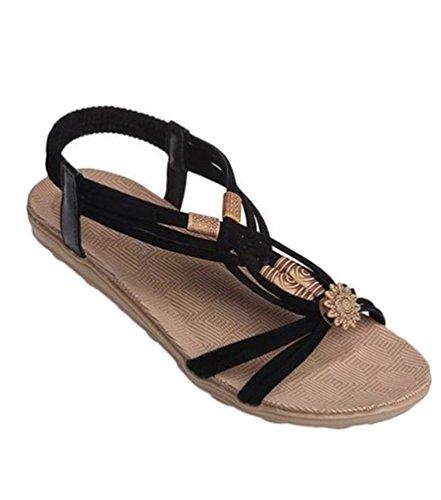 YOUJIA Frauen Casual Peep-Toe Flache Schuhe Römische Slingback Flip Flops Sommer Sandalen Schwarz
