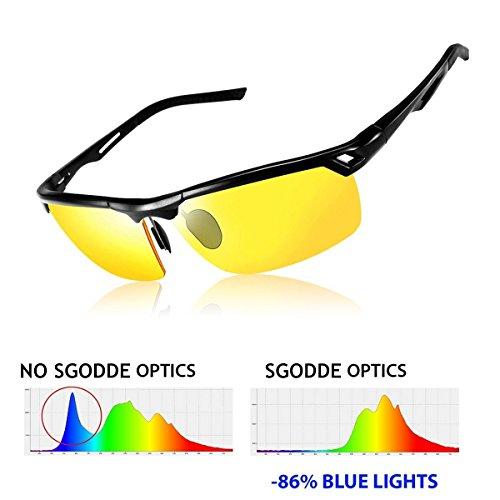 SGODDE Unisex Sportbrille, Polarisiert Sonnenbrille, Nacht Vision Blendschutz Brille, UV400-Schutz Fahrbrille Radbrille mit gelben Gläsern für Damen und Herren