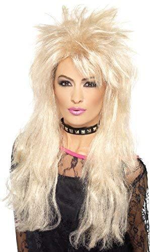 Damen 80s Jahre Blond Mullet Wildes Kind Rocker Rock And Roll Stern Kostüm Kleid Outfit Zubehör Perücke