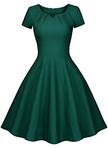 Miusol Vintage 50er Kleid Knielang Ballkleid Rockabilly Cocktail Abendkleid Grün - 4